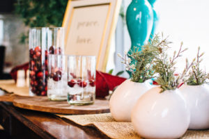 Hostess with handmade vases